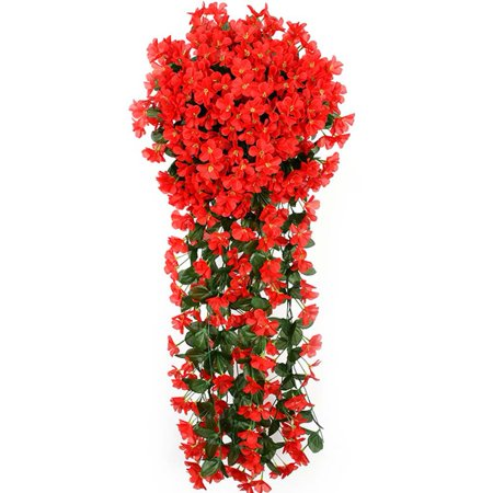 KABOER Hanging Flowers Artificial Violet Flower Wall Wisteria Basket Hanging Garland Vine Flowers Fake Silk Orchid Simulation Rattan Plant Vine Wedding Home Garden Balcony Floral Decoration ()