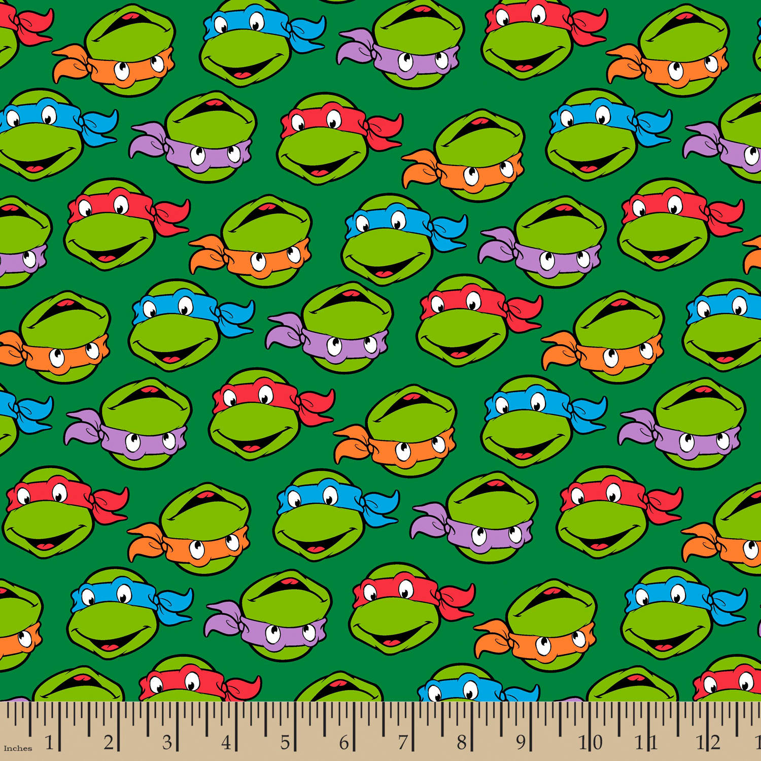 "TMNT Turtle Heads, Flannel, Green, 42/43"" Width, Fabric by the Yard"