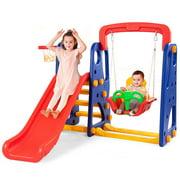 Goplus 3 in 1 Junior Children Climber Slide Swing Seat Basketball Hoop Playset