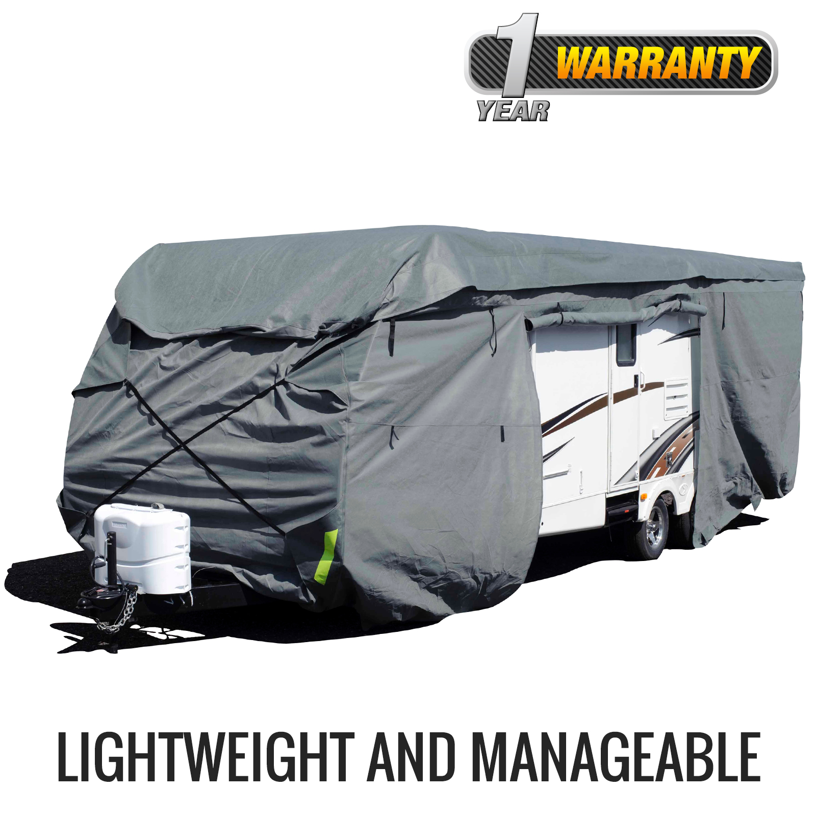 Budge Standard Toy Hauler or Travel Trailer Cover (Gray) Size A Up to 21' Long