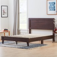 Rest Haven Durable Classic Framed Wood Platform Bed, Queen, Rustic Mahogany