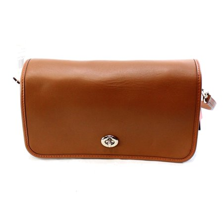 NEW Brown Saddle Glovetanned Leather Turnlock Messenger Bag Purse Brown Worn Saddle Leather