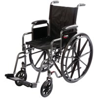 Carex Wheelchair with Swing Away Footrests and Removable Armrests, Padded Seat
