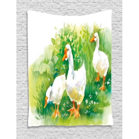 Duck Tapestry, Goose in Farm Lake Plants Grass Reeds Flowers Pond Animals Geese Feathers Life, Wall Hanging for Bedroom Living Room Dorm Decor, 40W X 60L Inches, Green and White, by Ambesonne