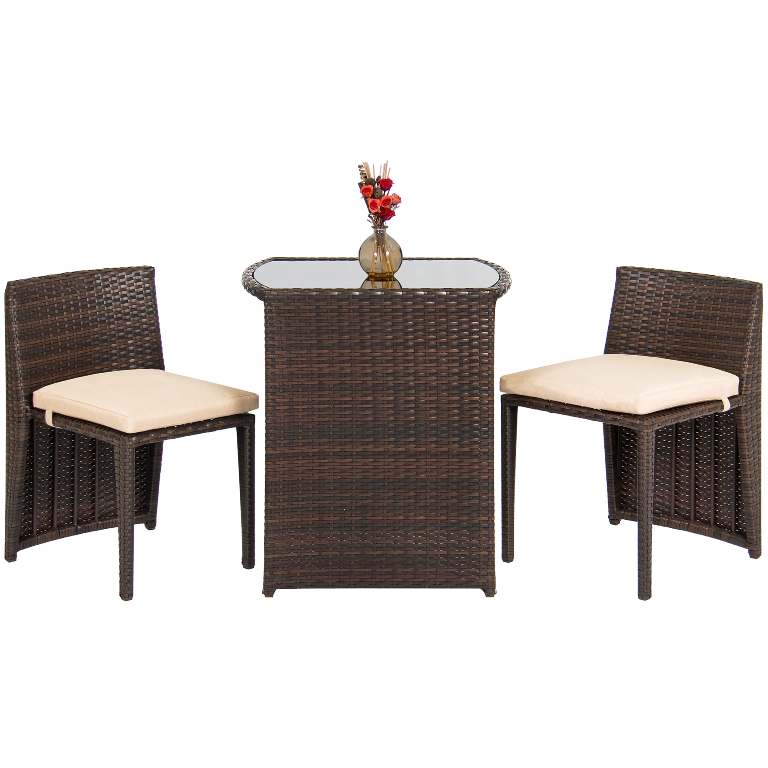 Best Choice Products Outdoor Patio Furniture Wicker 3pc Bistro Set W  Glass Top Table, 2 Chairs- Brown by