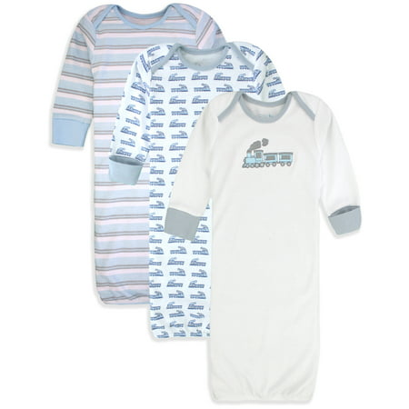 Maybe Baby Kids Infant Boys' and Girls' 3 Pack Cotton Baby Gowns w/ Mitten Cuffs 0-6 Months… - Gerls And Boys