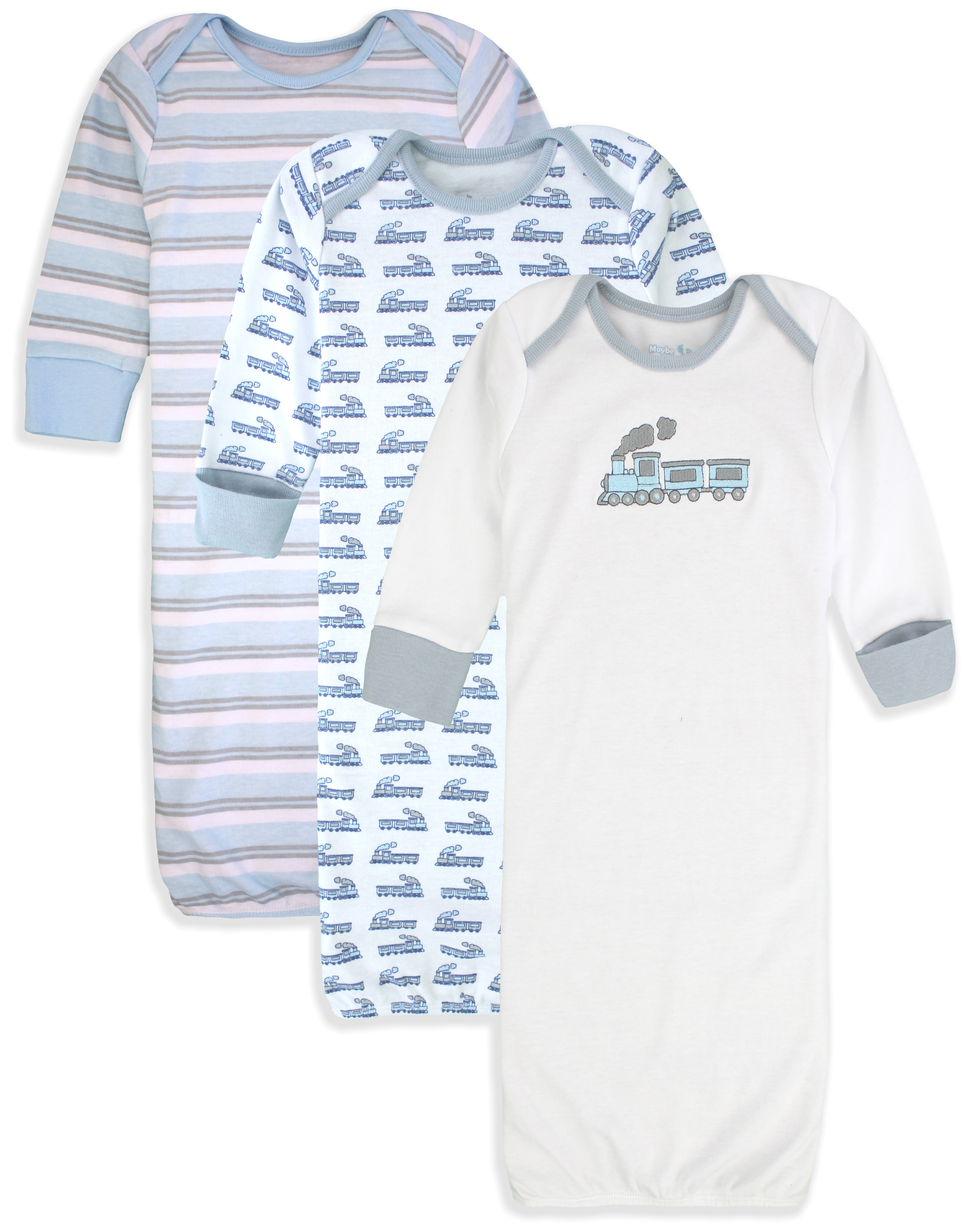 Maybe Baby Kids Infant Boys' and Girls' 3 Pack Cotton Baby Gowns w/ Mitten Cuffs 0-6 Months…