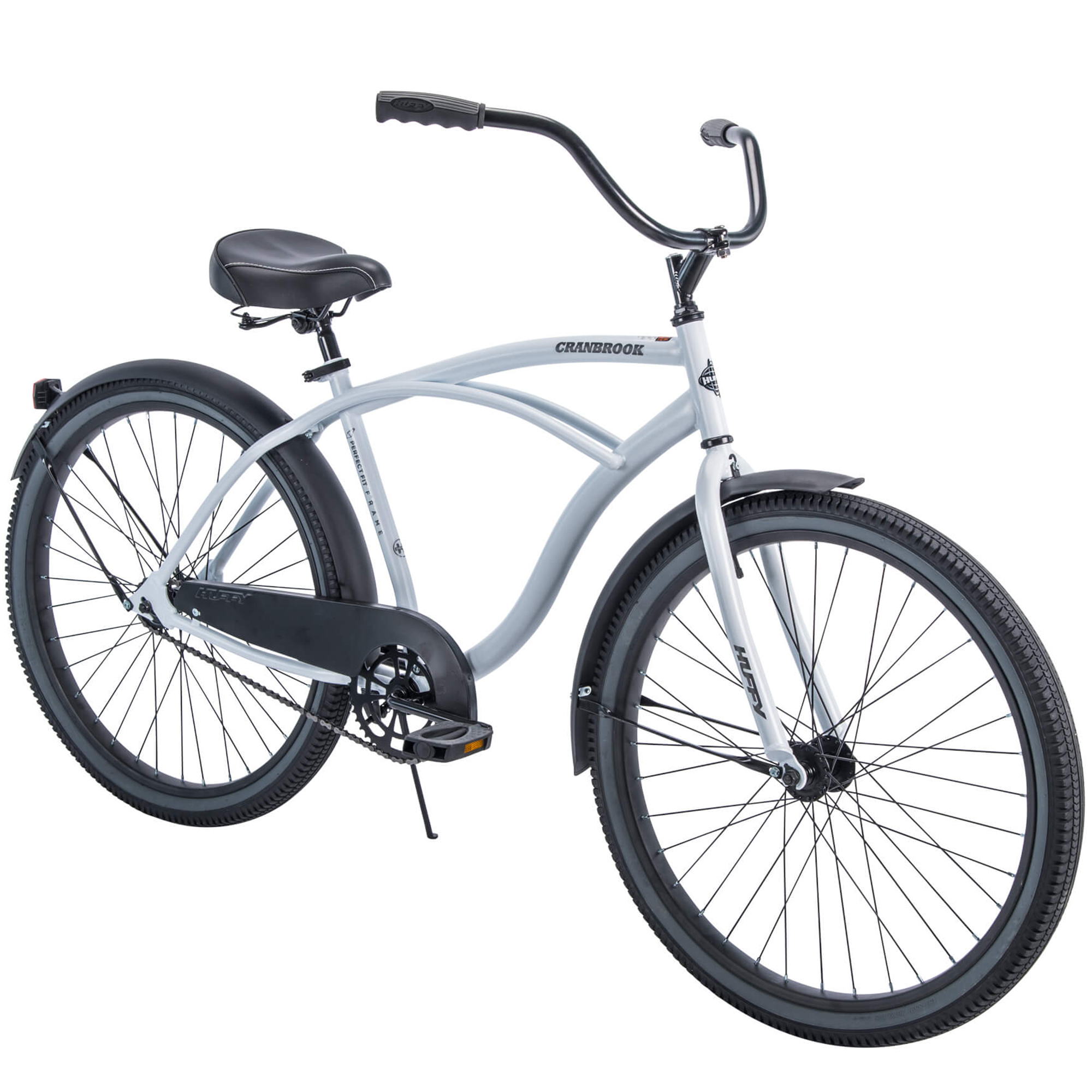 "Huffy 26"" Cranbrook Men's Cruiser Bike with Perfect Fit Frame, White"
