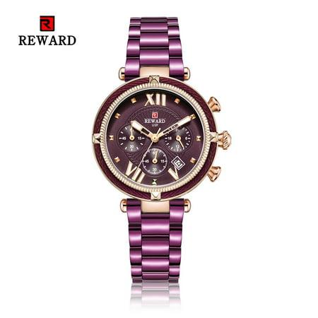 REWARD Women Watches Feminine Waterproof Sport Quartz Watch Full Steel Chronograph Watch Women Girl Clock for Female Black Chronograph Clock