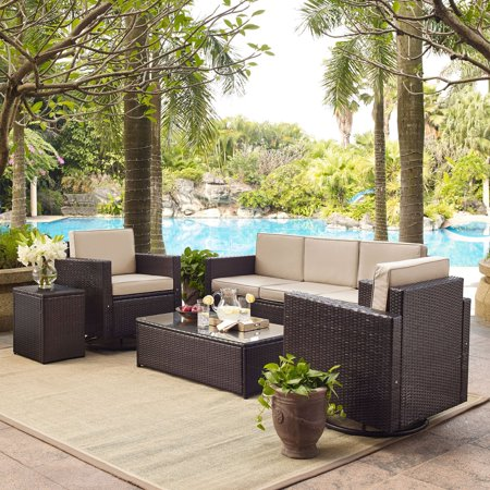 Image of PALM HARBOR 5-PIECE OUTDOOR WICKER SOFA CONVERSATION SET WITH GREY CUSHIONS - SOFA, TWO SWIVEL CHAIRS, SIDE TABLE & GLASS TOP TABLE