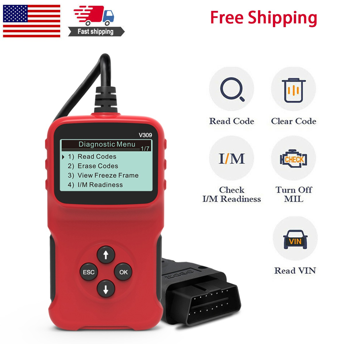 Red Universal OBD II Car Diagnostic Scanner Code Reader Automotive Fault Diagnostic Tool for All OBDII Protocol Compliant Vehicles OUK-BT OBD2 Scanner