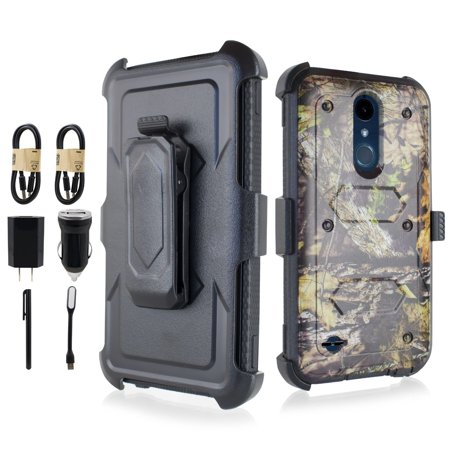 VALUE PACK + For LG K10 (2018)/ K30 X410/ Premier Pro LTE/ MS425 Hybrid Holster Protective Shock Resistant Phone Case Dual Layers Hybrid Cover with Kickstand and Cushioned Corners (Camo)