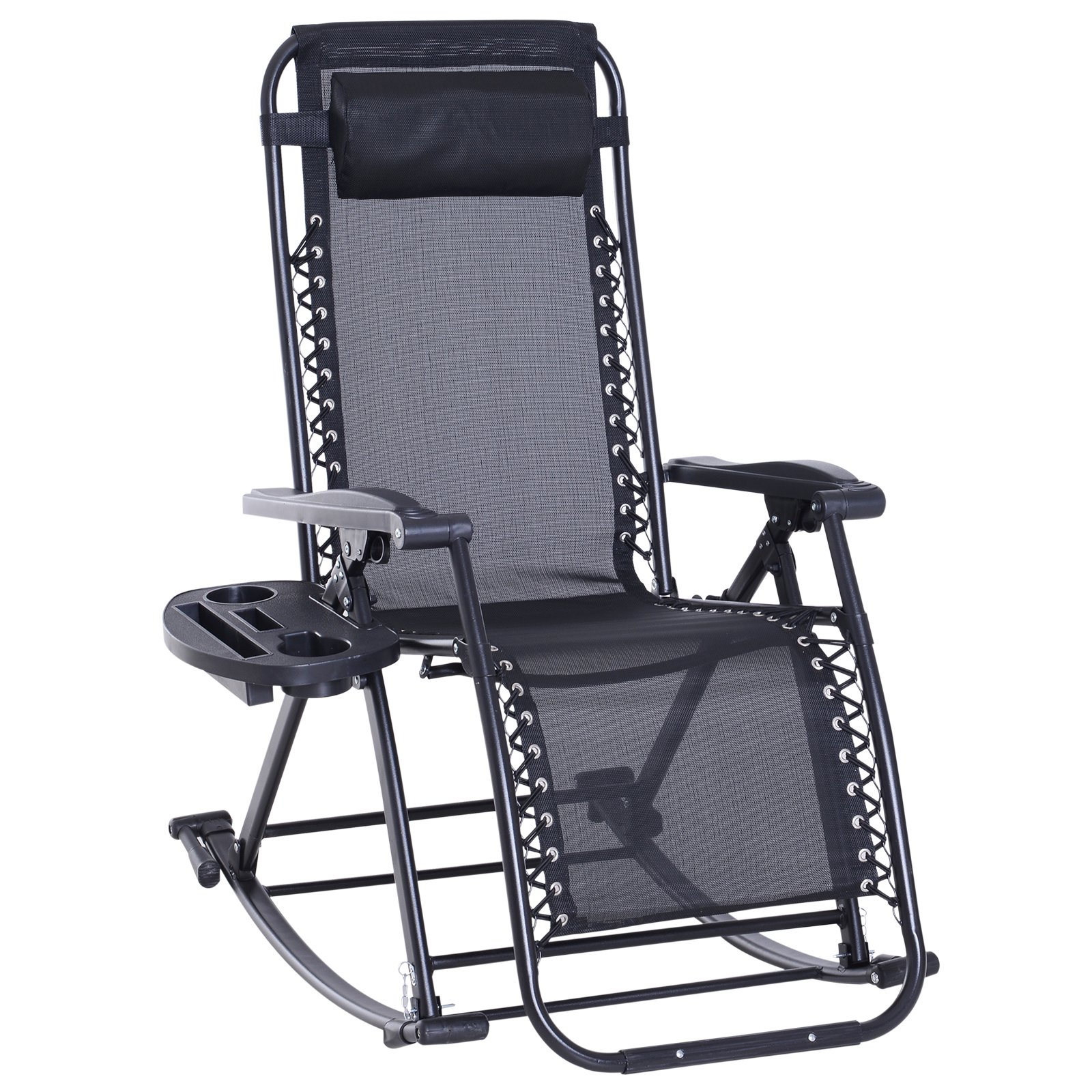 Folding Zero Gravity Rocking Lounge Chair With Cup Holder