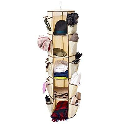 5-Tier Carousel Closet Organizer, EZOWare Collapsible Carousel Organizer Closet Organizer Storage with 360 Swivel Hook and 30 Pocket - Beige