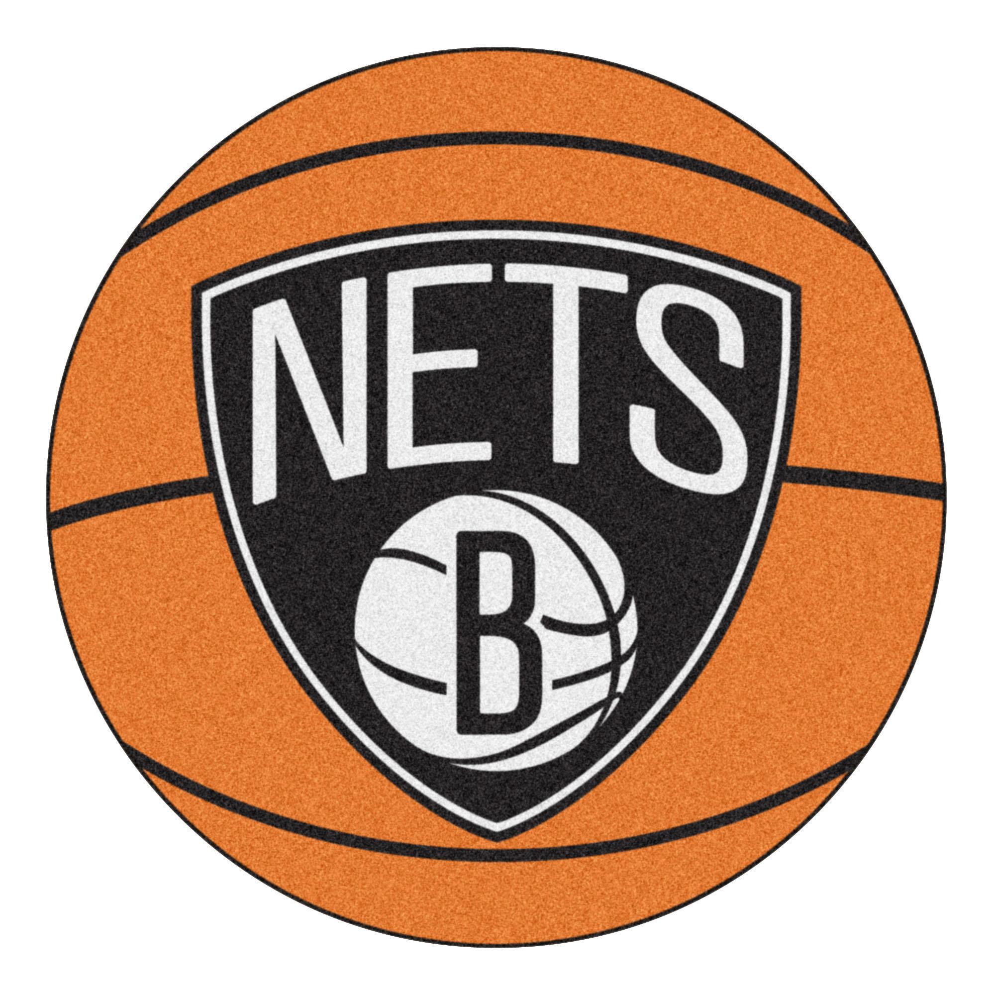 NBA Brooklyn Nets Basketball Shaped Mat Area Rug