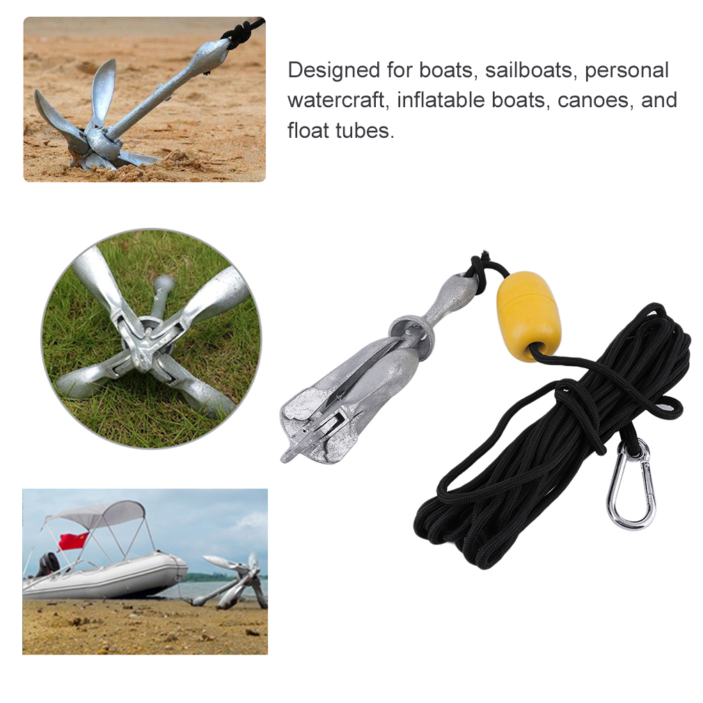 Portable Folding Anchor Buoy Kit Set Rope Fishing Buoy Kit Canoe Kayak Raft Boat Sailboat Fishing Jet Ski Float Carrying... by