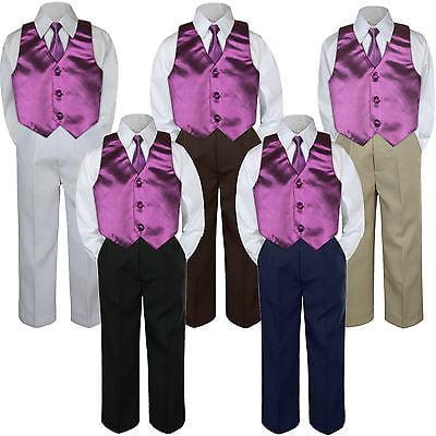 4pc Boy Suit Set Eggplant Plum Necktie Vest Baby Toddler Kid Formal Pants S-7