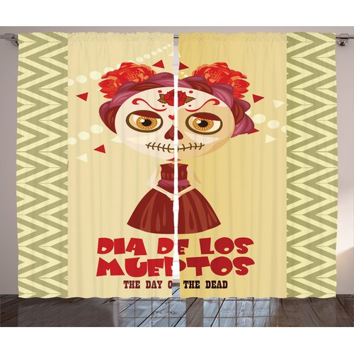 Latitude Run Bowers Day of The Dead Graphic Print and Text Semi-Sheer Rod Pocket Curtain Panels (Set of 2)