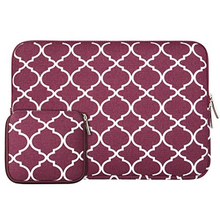 Mosiso Laptop Sleeve Bag for 11-11.6 Inch MacBook Air, Ultrabook Netbook Tablet with Small Case, Quatrefoil Style Canvas Fabric Carrying Cover, Wine Red ()