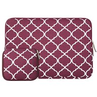 Mosiso Laptop Sleeve Bag for 11-11.6 Inch MacBook Air, Ultrabook Netbook Tablet with Small Case, Quatrefoil Style Canvas Fabric Carrying Cover, Wine Red