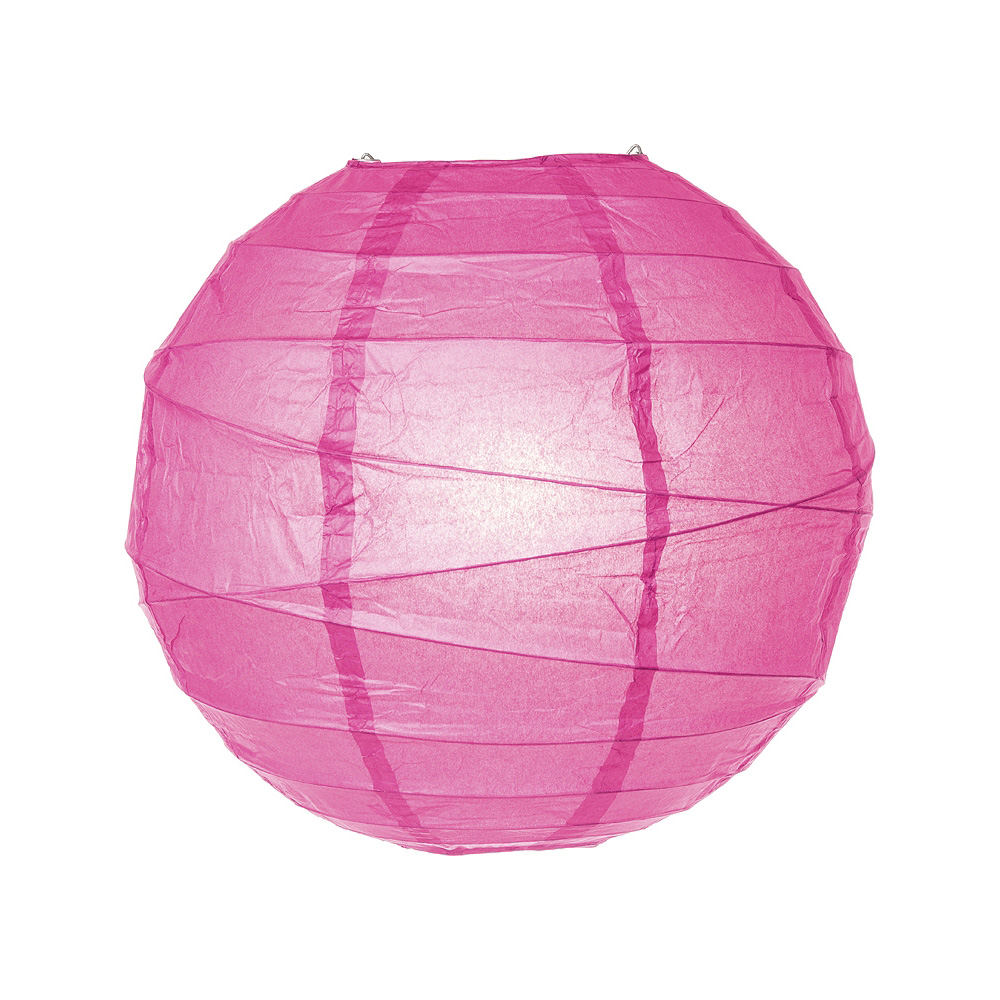 Luna Bazaar Paper Lantern (10-Inch, Free-Style Ribbed, Dark Pink) - Rice Paper Chinese/Japanese Hanging Decoration - For Home Decor, Parties, and Weddings