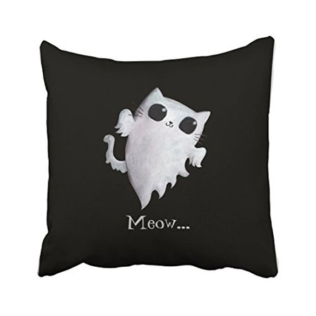 WinHome Halloween Cute Ghost Cat Throw Pillow Covers Cushion Cover Case 20x20 Inches Pillowcases Two Side](Cute Halloween Ghost Sayings)