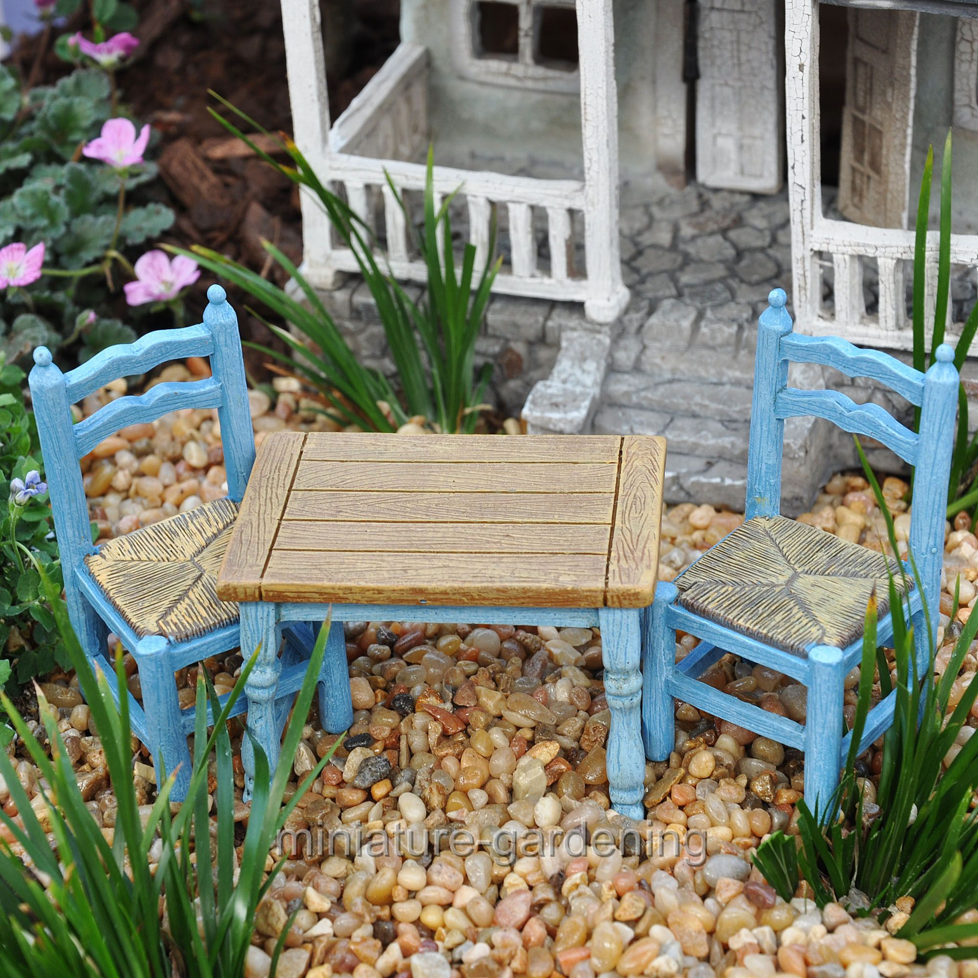 Studio-M Farm Table and Chairs, 3 Piece Set for Miniature Garden, Fairy Garden