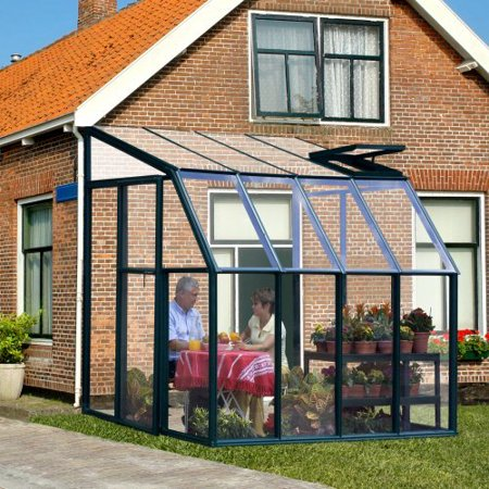 Rion Sunroom Clear 6 42 X 8 5 Ft Lean To Green Frame Greenhouse Kit
