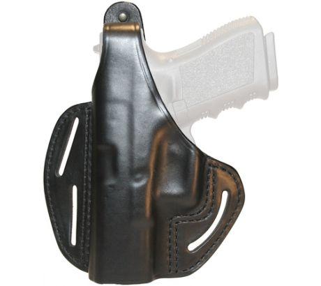 BlackHawk 3 Slot Leather Pancake Holster, Black, Left Hand - For Glock26/27/33