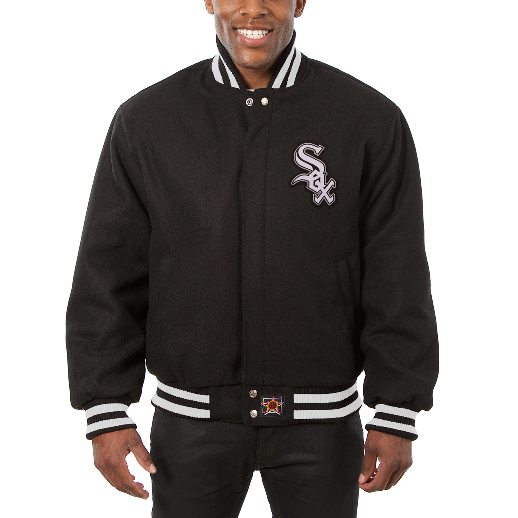 Chicago White Sox JH Design Wool Full-Button Jacket - Black
