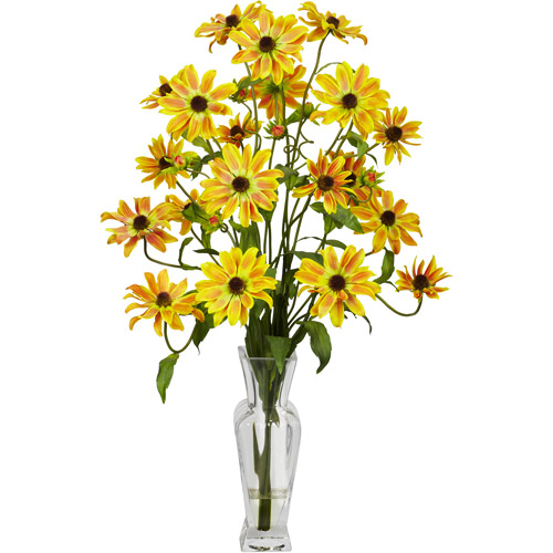 Cosmos with Vase Silk Flower Arrangement, Yellow