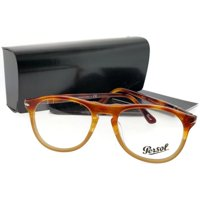 18e2c3513d Product Image Persol PO9649V-1025-50 Oval Unisex Brown Frame Clear Lens  Genuine Eyeglasses NWT