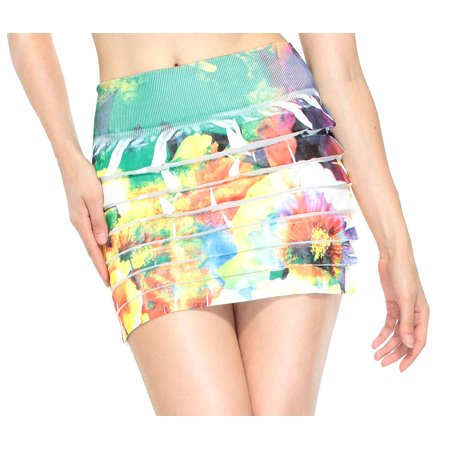 Retrochic Mini Skirt W/ All Floral Print in Bright Colors, Multicolor (Retro-chic)