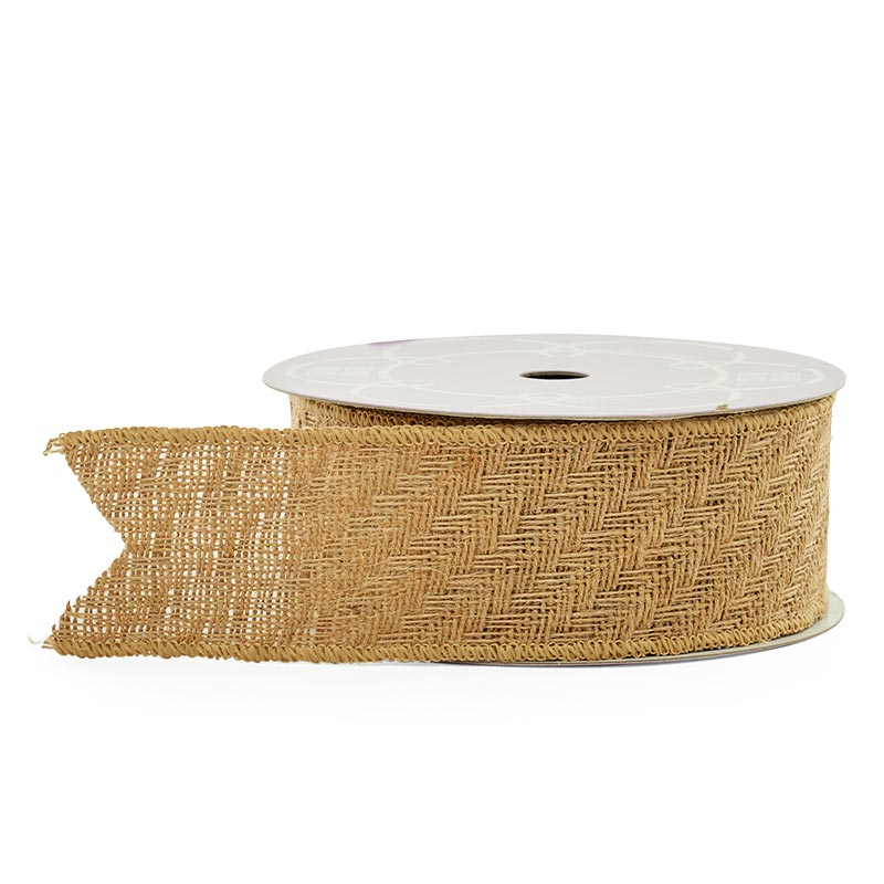 "2 1/2"" X 10 Yards Wired Herringbone Weave Jute Ribbon by Paper Mart"