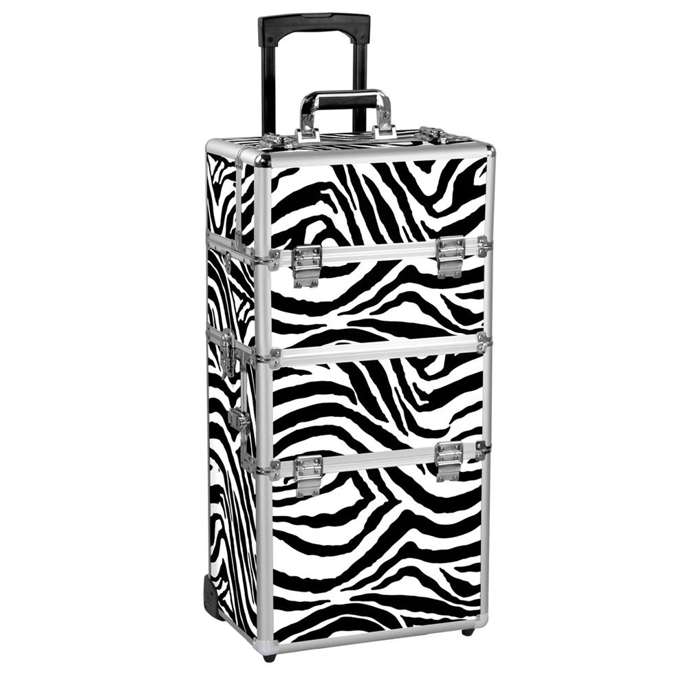Yaheetech 2-wheel 3-in-1 Professional Multifunction Artist Rolling Trolley Makeup Beauty Train Case Cosmetic Organizer W/shoulder Straps (Zebra)