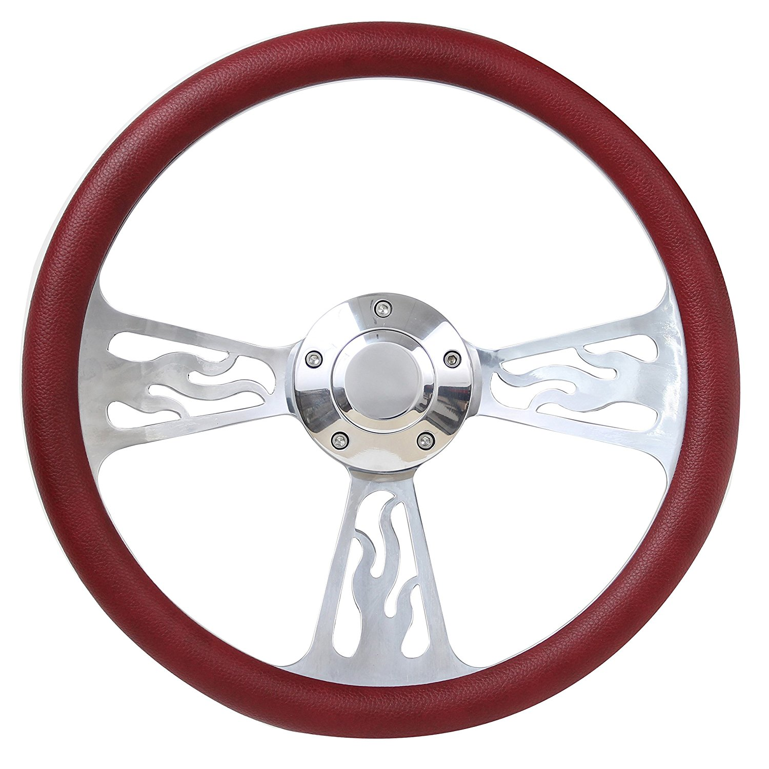 55-57 Ford Thunderbird Flame Steering Wheel 14 Inch Aluminum with Tan Wrap
