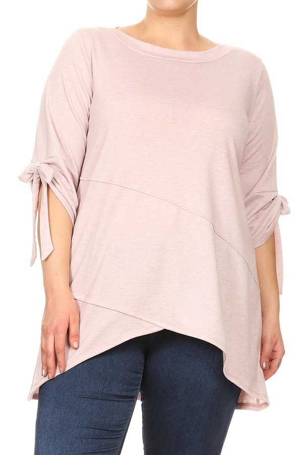 Plus Size Women's Trendy Style 3/4 Sleeves Knit Tunic Top