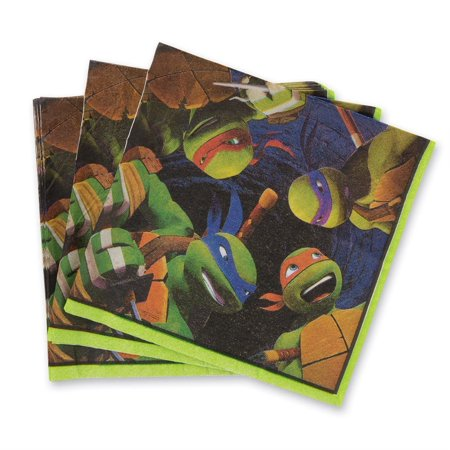 Teenage Mutant Ninja Turtles Beverage Napkins - Birthday & Theme Party Supplies - 16 per pack By SmileMakers Inc (Soccer Themed Birthday Party Supplies)