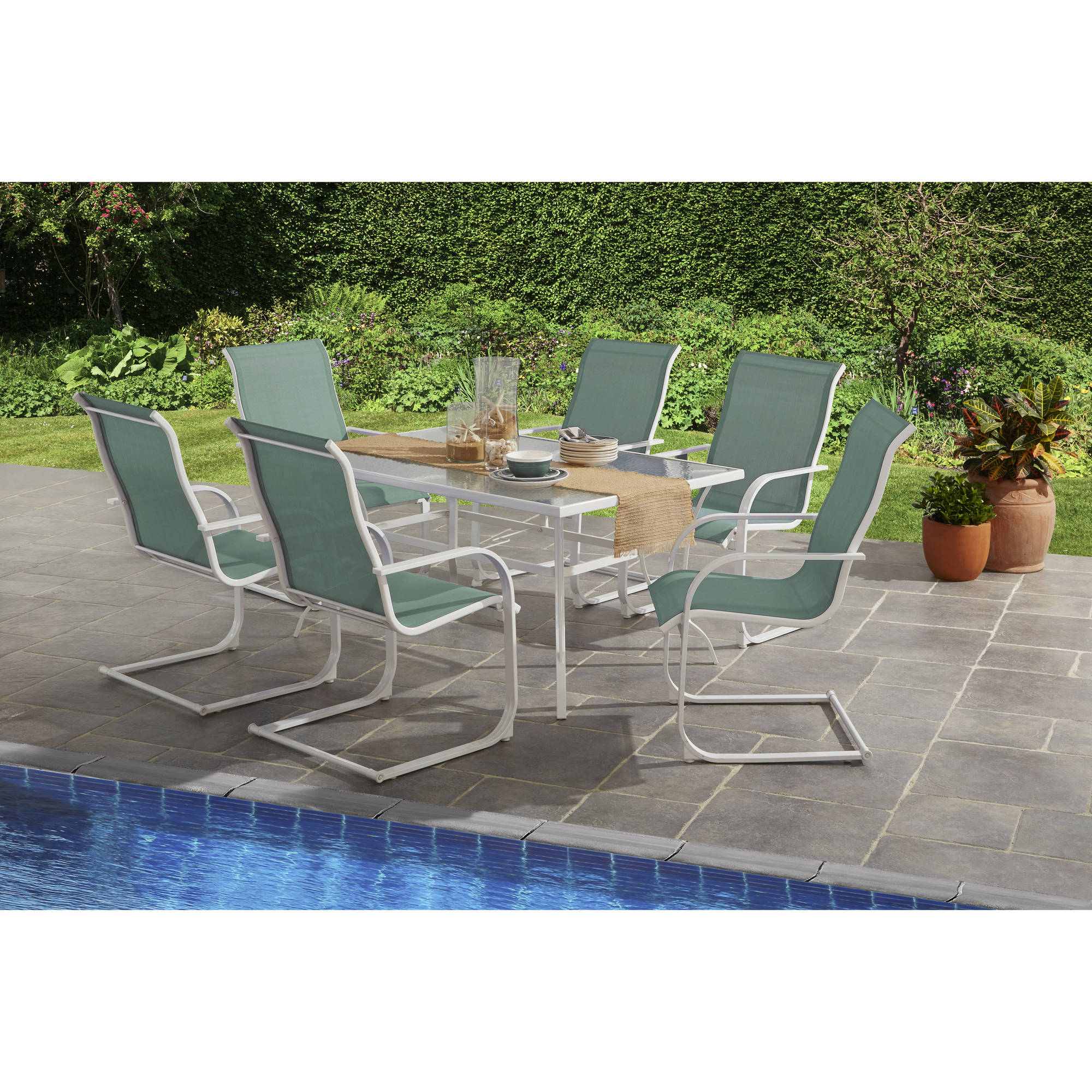Mainstays Bristol Springs 7-Piece Dining Set, Aqua