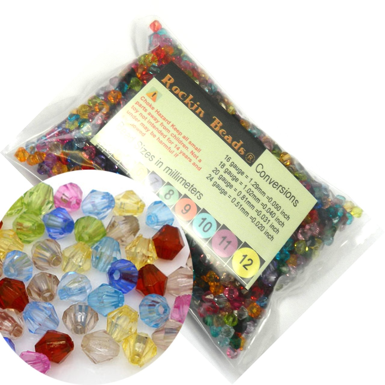 2000 Mixed Acrylic Trasparent Plastic Bi-cone Spacer, Loose Beads, 6mm Craft Grade