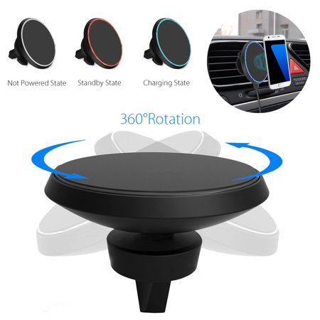LED Qi Wireless Car Charger Magnetic Air Vent Mount Phone Holder for Samsung Galaxy Note Wireless charger 8 S9/S8/S8 Plus/S7, for iPhone XS Max/XS/XR/X 8 Plus 8 - image 9 of 10