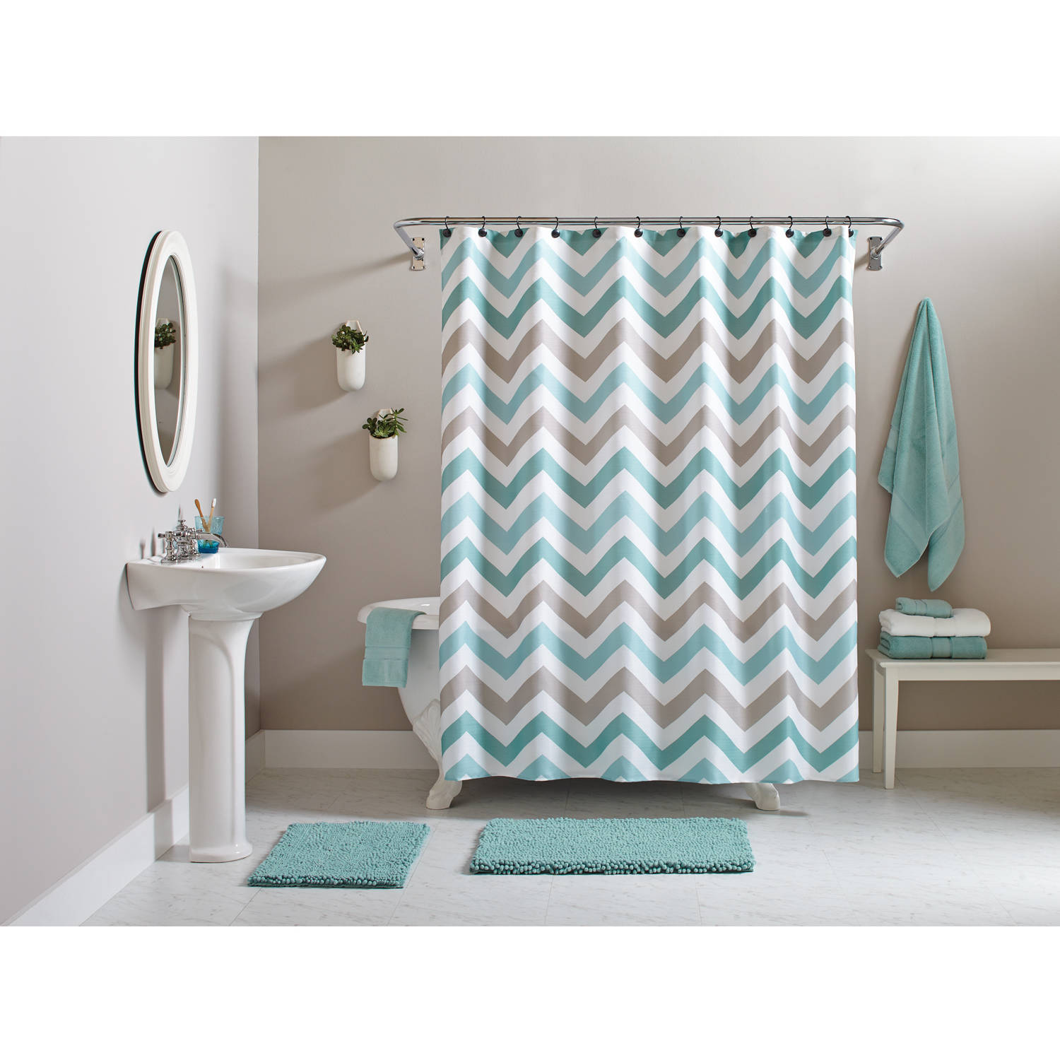Chevron bathroom sets with shower curtain and rugs - Better Homes And Gardens Chevron 15 Piece Bath Set Teal Brown Walmart Com