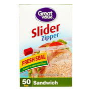 Great Value Slider Zipper Sandwich Sized Bags, 50 Ct
