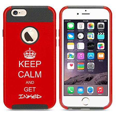 For Apple iPhone 7 Shockproof Impact Hard Soft Case Cover Keep Calm And Get Inked Tattoo (Red) ()