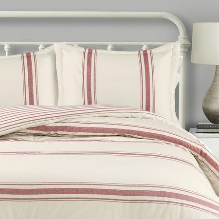 """Lush Decor Farmhouse Stripe Traditional Reversible Comforter, King, Red, 3-Pc Set"""