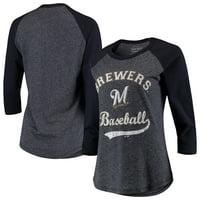 Milwaukee Brewers Majestic Threads Women's Team Baseball Three-Quarter Raglan Sleeve Tri-Blend T-Shirt - Navy