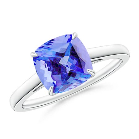 December Birthstone Ring - Vintage Inspired Solitaire Cushion Tanzanite Cocktail Ring in Platinum (8mm Tanzanite) - SR1079T-PT-AA-8-11.5