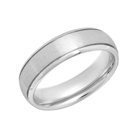 Men's Tungsten 6MM Grooved Satin Wedding Band - Mens Ring