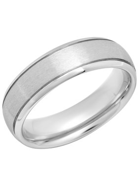 Mens Tungsten 6MM Grooved Satin Wedding Band - Mens Ring