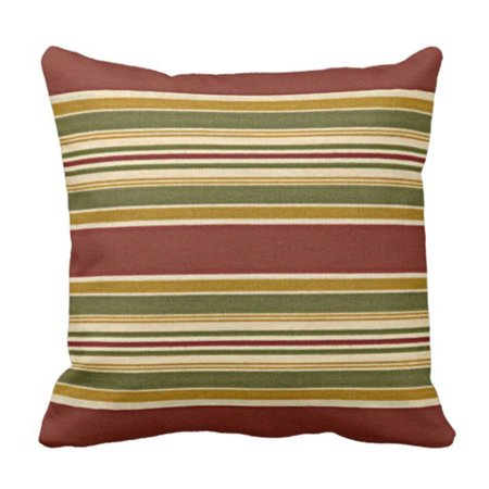 Yellow Striped Pillow - WOPOP Burgundy Green Ivory Ochre Yellow Stripes Pattern Pillowcase Pillow Cover 18x18 inches